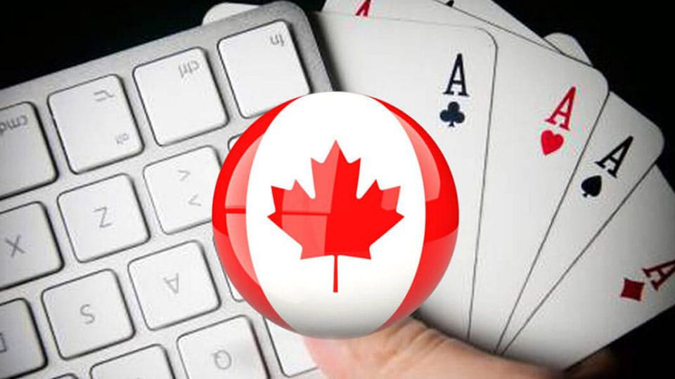 Keyboard and Playing cards with Canada Flag overlay