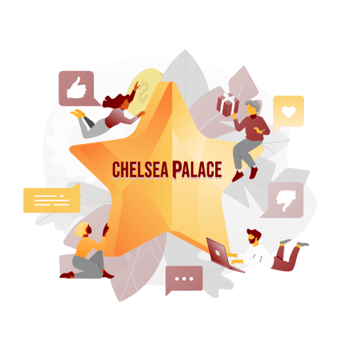 chelsea palace casino review image with a star and social media icons